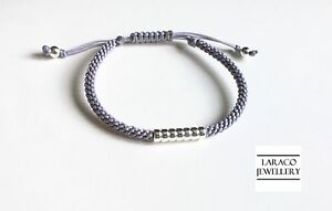LARACO JEWELLERY - Sterling Silver Rondelle Beads Friendship Knot Cord Bracelet