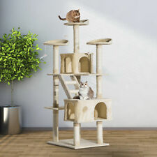 "71"" Scratching Post Cat Tree Kitty Condo Multi Level Play Activity Center Beige"