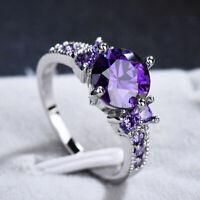 White Gold Round Cut Purple Amethyst Gem Wedding Band Ring Gift Size 6-10