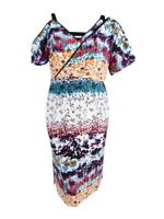 Rachel Roy Women's Cold-Shoulder Printed Midi Dress