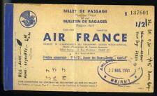 1951 Billet avion Air France Ticket Nice Roma Beirut Beyrouth Antibes vintage