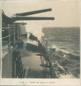 """1925 photo HMS Hood Rough Seas British Empire cruise 2.8x3"""""""
