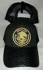 SINALOA  MEXICO LOGO FEDERAL HAT GORRA  PALMA VISERA DE PIEL BLACK MESH TRUCKER