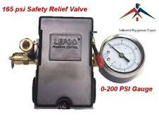 Air Compressor Pressure Control Switch 4 Ports 95-125 PSI w/ Gauge pop off valve