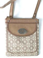 FOSSIL Signature Mini Maddox Brown Jacquard Leather Crossbody Shoulder Handbag