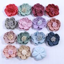 50pcs 5CM Solid Artificial Felt Flowers For Hair Accessories U Pick Colors