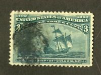 US Stamps # 232 3c Columbian XF USED