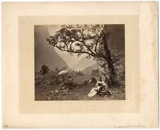 Suisse, Jungfrau valle Lauterbrunnen, Adolphe Braun vintage albumen print, Allem