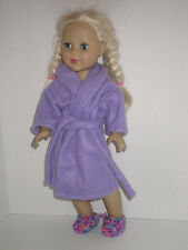 "Purple Fleece Robe/Slippers 18"" Doll Clothes American Girl"