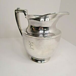 MERIDEN SP Co. International 965 Silver plate Pitcher hammered initialed