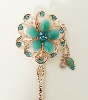 Floral and Leaf Inspired Design Hair Barrette crafted with Rhinestones and Diamo