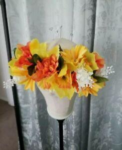 Women Girls Boho Flower Crown Sunflower Headband Yellow Handmade Festival