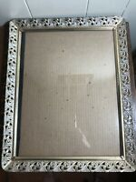Vintage Gold/White Filigree Ornate Metal Easel Picture Frame w/Glass 13 x 16