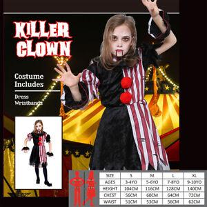 Creepy Clown Horror Killer Joker Harley Quinn Evil Halloween Girls Costume Kids