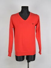 Fred Perry V Neck Men Red Sweater Size S, Genuine