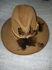 Vintage Brown Felt Cowboy Western Hat Braided Band fur feathers pin jewelry zs 7