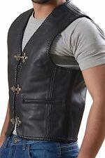 Leather Vest Waistcoat Motorbike Men's Motorcycle Biker Fish Hook Buckles