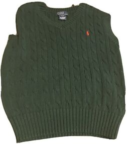 Boy's Polo Ralph Lauren Hunter Green Cable Knit V-Neck Sweater Vest S 8-10 EUC