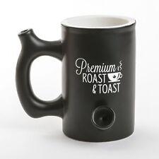 Premium Roast and Toast Mug Black Ceramic Coffee Pipe Mug Multipurpose Novelty