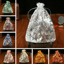 100PCS Flower Organza Drawstring Bags Jewelry Pouch Wedding Favor Gift Bags Chic