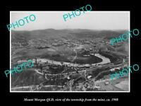 OLD LARGE HISTORIC PHOTO OF MOUNT MORGAN QLD, VIEW OF THE TOWNSHIP c1908