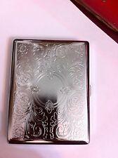 Art Deco Silver  Victorian  2-Clip Cigarette Case Business Credit Card Holder