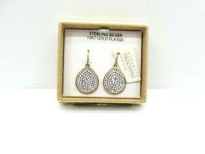 Beautiful Sterling Silver 10KT Gold Plated Dangle Earrings w/Swarovski Elements