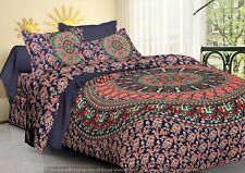 Indian Mandala Handmade Bedding Bed Sheet Pillow Cover Set Bedspread King Size