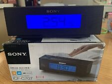 New Sony Dream Machine FM/AM Clock Radio Black ICF-C707 Auto Time Nature Sound