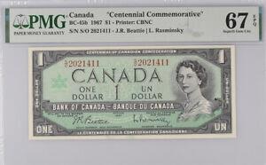 Canada 1 Dollar 1967 P 84 Beattie Rasminsky Superb Gem UNC PMG 67 EPQ