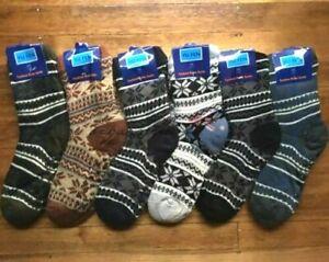6 Pairs MEN Thick Fluffy Home Non-slip Warm Soft Fur Winter Bed Socks Slipper