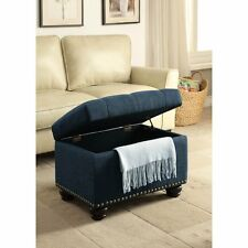 Ottomans With Storage Upholstered Tufted Nailhead Trim Footstool Footrest Blue