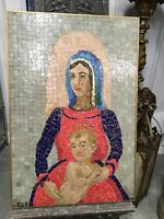 VINTAGE RUTH E FRISBIE VENETIAN GLASS MOSAIC PICTURE 1961 SIGNED FOLK ART