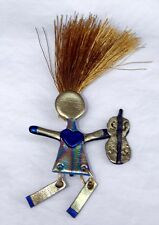 USA-Made Wacky Woman Mountain Acrylic Dulcimer Pin with Swinging Legs and Heart