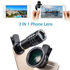 3in1 12X Zoom Telescope Lens+0.45X Wide Angle+HD Macro Cam Lens for Andoird/IOS
