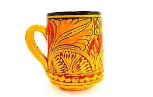 Original Handmade Engraved Hand-painted Ceramic Cup Organic Lead Free Terracotta
