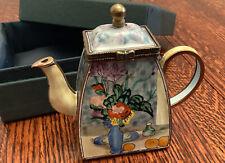 "Kelvin Chen Miniature 3 1/2"" Teapot - Enameled The Blue Vase on Copper 2001"