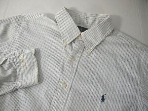 Ralph Lauren Mens Dress Shirt 17 1/2 36-37 Slim Fit White Blue Black Striped