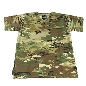 Multicam Scrub Shirt Tactical OCP Short Sleeve Medical Uniform Ripstop LARGE