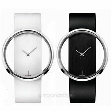 Simple Design Casual Womens Quartz Transparent Dail PU Leather Band Wrist Watch