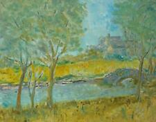 Mary A Lee (20thC Briish) Large Pastel Painting A River Landscape c1970s Signed