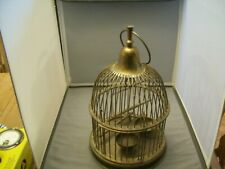 Vintage All Brass Decorative Bird Cage-Built In Perch, Dishes, Swing