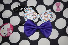 Elastic Bowties in Rainbow print and Solid Purple
