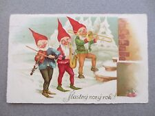 Postcard 1934 NEW YEAR Greetings 3 Gnomes Playing Instruments in Snow Czech