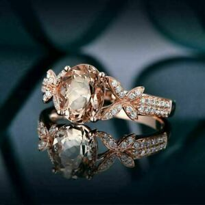 2Ct Oval Cut Peach Morganite Solitaire Engagement Ring 14K Rose Gold Finish