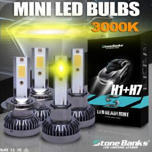 H1+H7 3000K Car LED Conversion Headlight Bulbs Replace Kit 20000LM Yellow Light