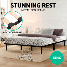 Strong Metal Bed Base Frame Size Timber Bentwood Slat Support Bedroom KING Size
