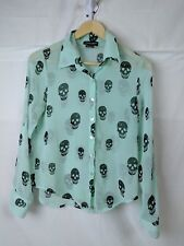About A Girl sheer -button front- long sleeve- mint top with SKULLS size XS
