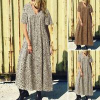 Women V Neck Long Maxi Dress Leopard Print Summer T-Shirt Dress Shirt Dress Plus