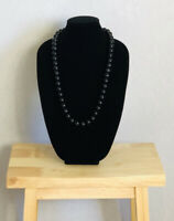 Vintage Statement Necklace Black Chunky Beads Power Dressing Costume Jewellery